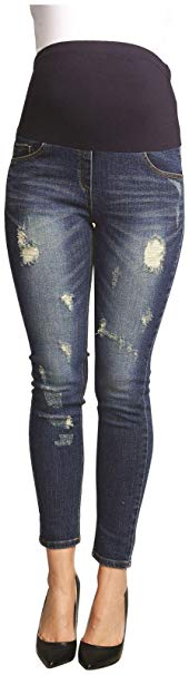 Urban MA Belly Support Distressed Maternity Jeans