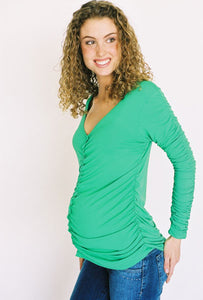 Olian Rutched V - Neck MaternityTop
