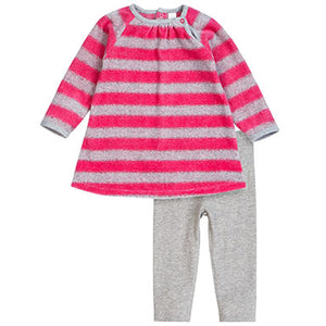 PetitLem Velour Pink Striped Two-Piece Outfit