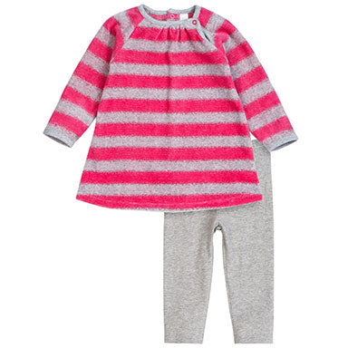 PetitLem Velour Pink Striped Two-Piece Outfit - tummystyle.com