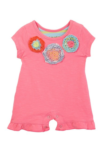 Mimi & Maggie Three Flowers Baby Romper in Pink - tummystyle.com