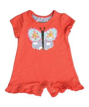 Mimi & Maggie Butterfly Baby Romper in Orange - tummystyle.com