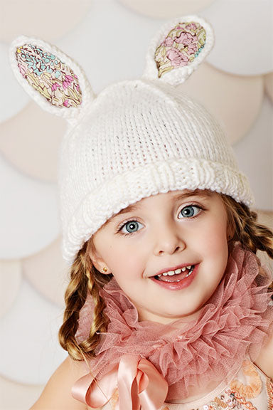 Blueberry HIll Bunny White w/ Liberty Fabric Baby Hat - tummystyle.com