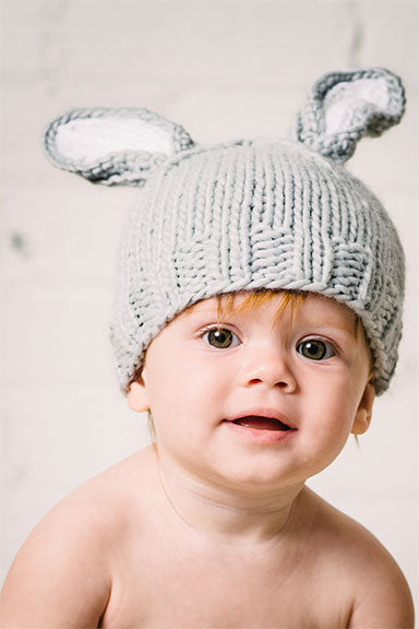 Blueberry HIll Bamboo Bunny Hat in White/Gray - tummystyle.com