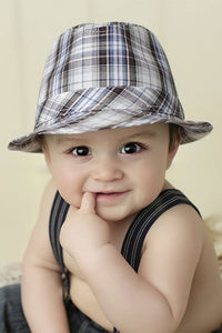 Blueberry HIll Ollie Blue Plaid Baby Fedora - tummystyle.com
