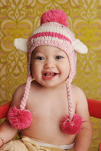 "Blueberry Hill ""Riley"" Pink Sock Monkey Baby Hat - tummystyle.com"