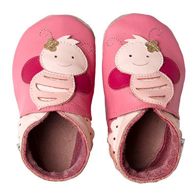 Bobux Pink Bee Soft Sole Baby Shoes
