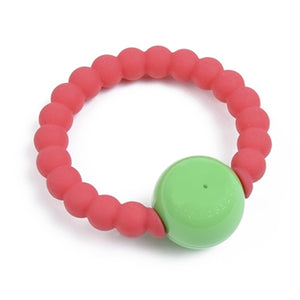 Chewbeads Mercer Teething Ring Rattle in Punchy Pink - tummystyle.com