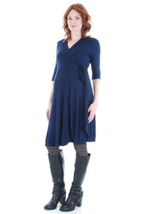 Everly Grey Kaitlyn Black Wrap Maternity Dress