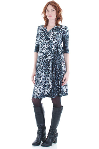 Everly Grey Kaitlyn Leopard Wrap Maternity Dress - tummystyle.com