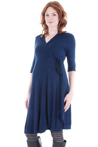 Everly Grey Kaitlyn Navy Wrap Maternity Dress - tummystyle.com