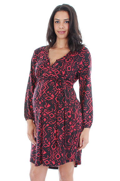 Everly Grey Lexi Lipstick Abstract Maternity Dress - tummystyle.com