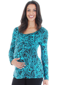 Everly Grey Bailey Jade Floral Maternity/Nursing Top - tummystyle.com