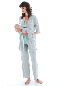 Everly Grey Roxanne Maternity/Nursing 5 Piece Pajama Set - tummystyle.com