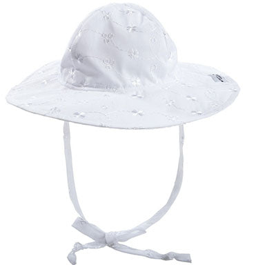 Flap Happy White Baby Floppy Hat