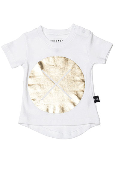 Huxbaby Gold Circle Cross Drop Back Tee