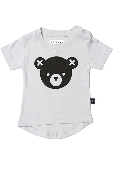 Huxbaby Bear Drop Back Pale Grey Baby Tee - tummystyle.com