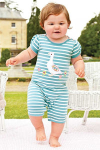 Jojo Maman Pretty Duck Romper Egg-Cream Stripe