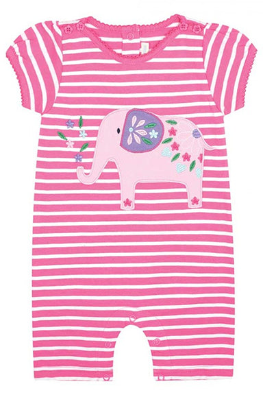 Jojo Maman Pretty Elephant One Piece Romper Orchid-White Stripe