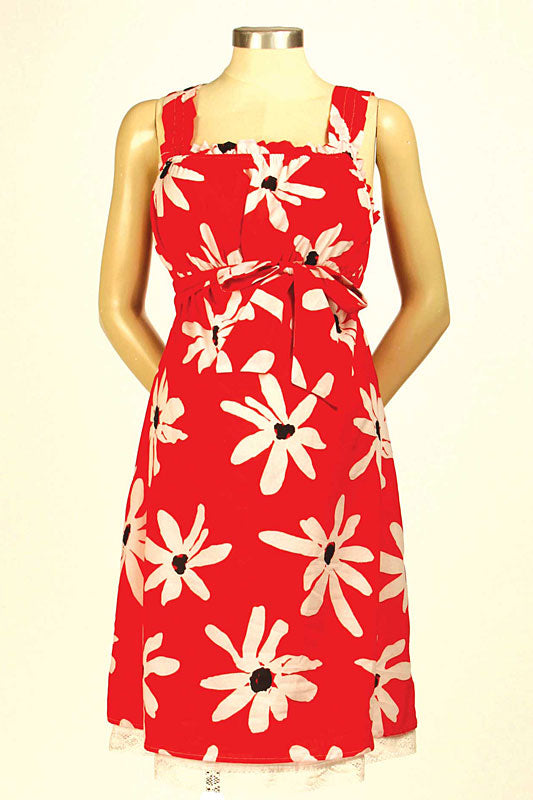 Japanese Weekend Red Maternity Sun Dress - tummystyle.com