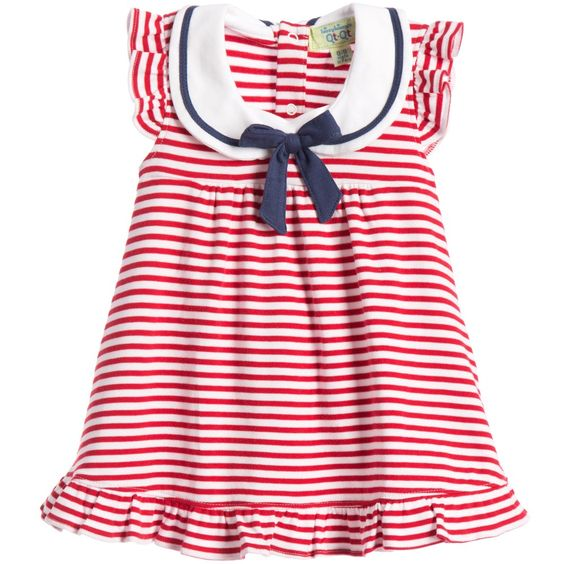 Kissy Kissy QT Marine Stripe Baby Dress w/Collar and Diaper Cover - tummystyle.com