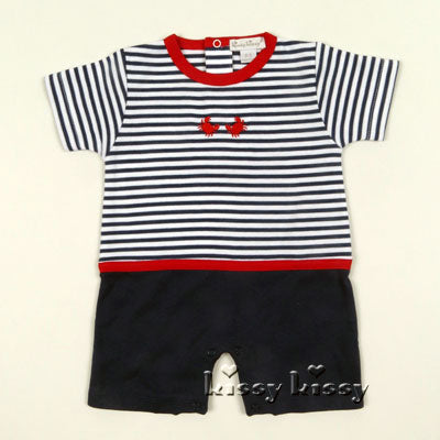 Kissy Kissy Red Crabby Stripe Short Playsuit in Navy