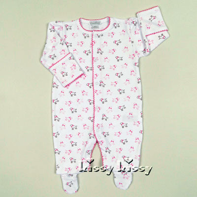 Kissy Kissy Puppy Love Print Footie in Pink