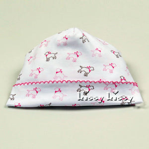 Kissy Kissy Puppy Love Print Baby Hat in Pink