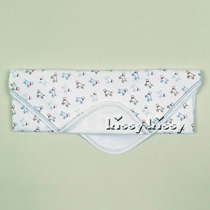 Kissy Kissy Puppy Love Print Blanket in Light Blue