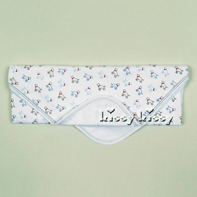 Kissy Kissy Puppy Love Print Baby Blanket in Light Blue - tummystyle.com