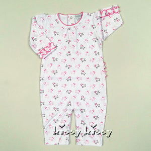 Kissy Kissy Puppy Love Print Baby Playsuit in Pink - tummystyle.com