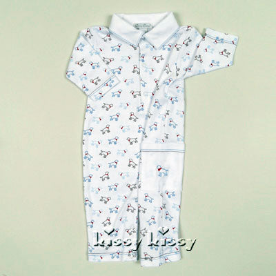Kissy Kissy Puppy Love Print Baby Playsuit in Light Blue - tummystyle.com