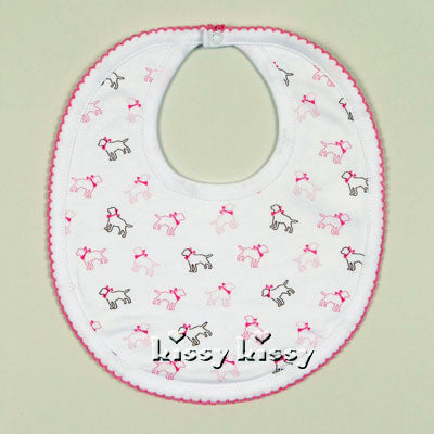 Kissy Kissy Puppy Love Print Bib in Pink