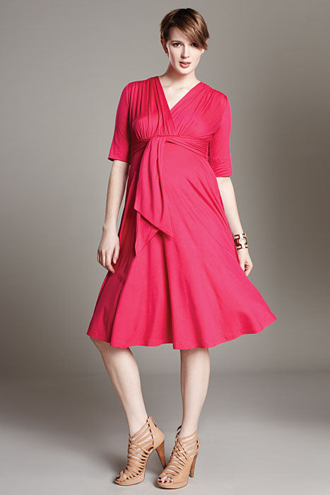 Maternal America Hot Pink Front Tie Keyhole Dress