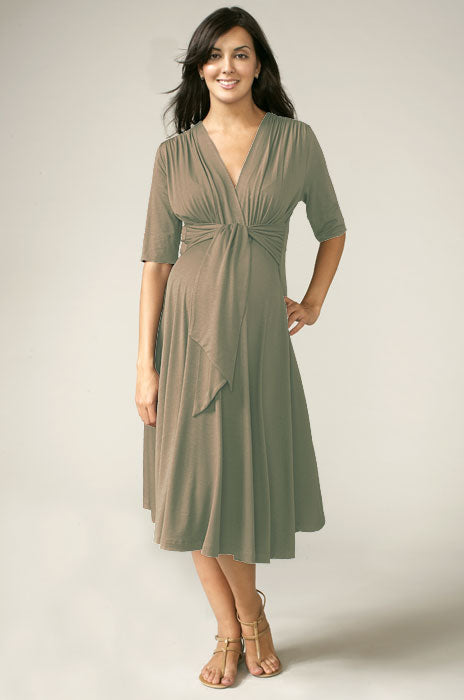 Maternal America Taupe Front Tie Keyhole Dress