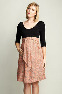 Maternal America Pink Boucle Maternity Dress - tummystyle.com