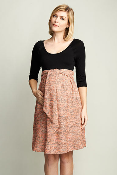 Maternal America Pink Boucle Maternity Dress