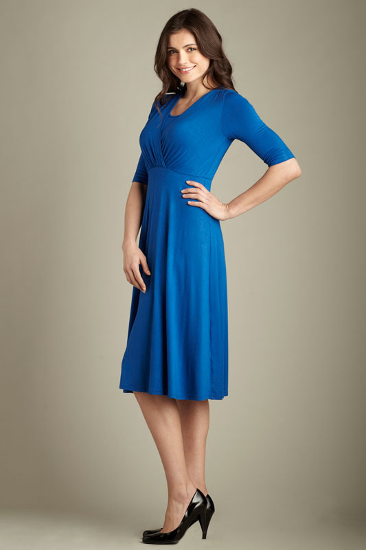 Maternal America L/S Tummy Tuck Nursing Dress Royal XS - tummystyle.com
