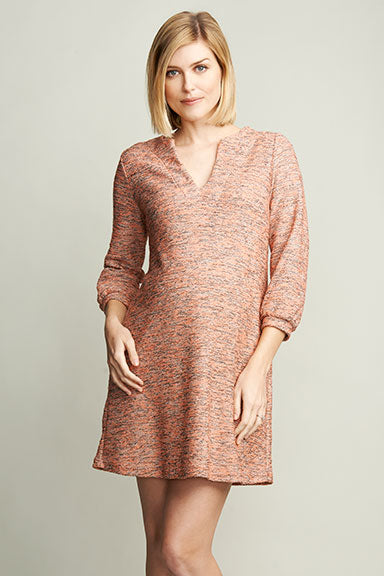 Maternal America Pink Boucle Maternity Shift Dress - tummystyle.com