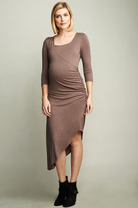 Maternal America Smokey Brown Maternity-Nursing Dress - tummystyle.com