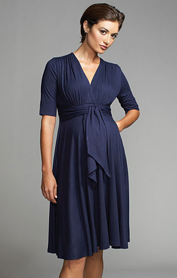 Maternal America Front Tie Keyhole Dress
