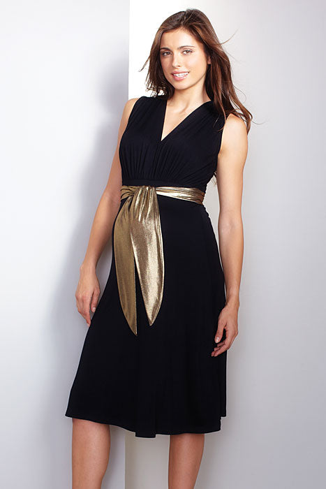 Maternal America Gold Sash Front Tie Dress