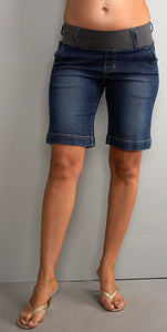 Maternal America Megan Denim Maternity Shorts - tummystyle.com