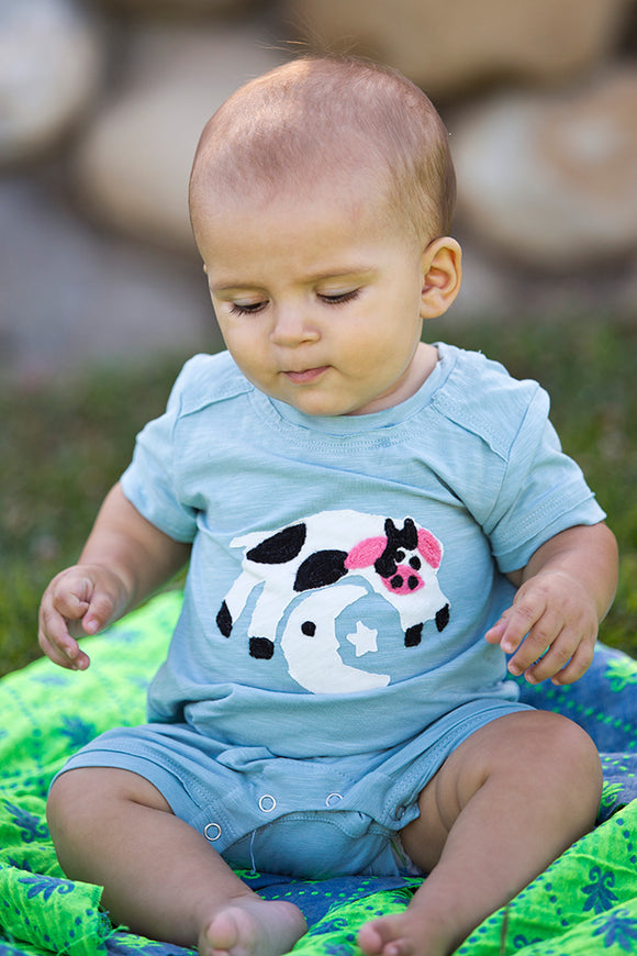 Mimi & Maggie Cow Jumps Over the Moon Baby Romper - tummystyle.com