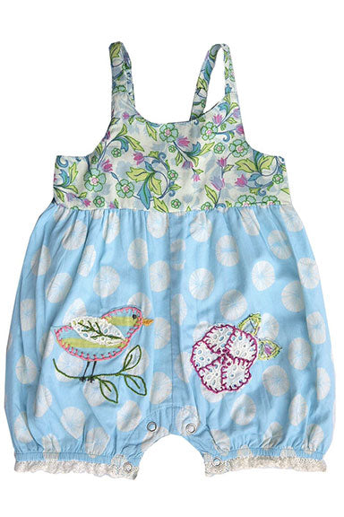 Mimi & Maggie Song Bird Bubble Romper Blue