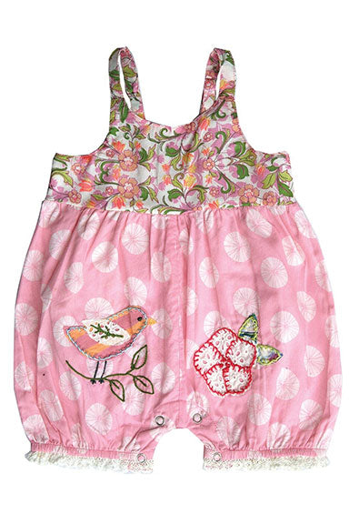 Mimi & Maggie Song Bird Bubble Romper Pink