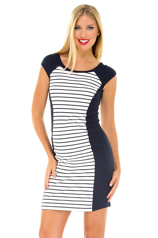 Olian Navy Boat Neck Maternity Dress - tummystyle.com