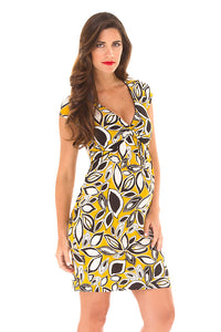 Olian Yellow V-Neck Maternity Dress - tummystyle.com