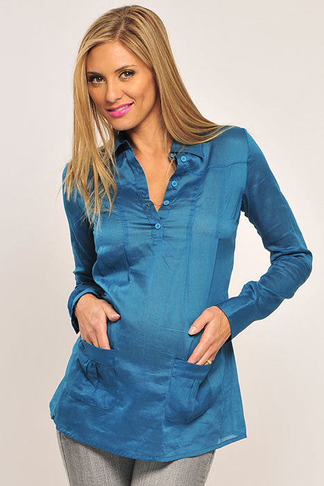 Olian Buttoned V - Neck Maternity Tunic Top - tummystyle.com
