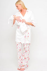 Olian Maternity Hearts 5 Piece Nursing Pajama Set